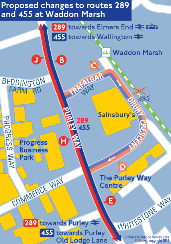 How TfL wants to change the 289 and 455 bus routes at Sainsbury's, Purley Way