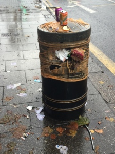 This bin by a bus stop on South End was left in this state by contractors Veolia for more than a month before Christmas