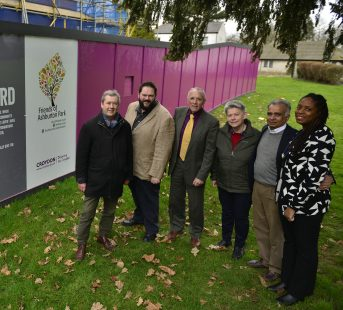 Councillors Alisa Flemming (right) and Timothy Godfrey (second left) pose outside the Old Ashburton Library with representatives of Nisai and Fit 2 Learn,
