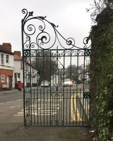 The splendid wrought iron gates at Grangewood Park need urgent maintenance from the council