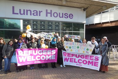 Trades unionists and Croydon residents outside the Home Office's immigration centre at Lunar House last October, when the first refugees were brought into Britain under the Dubs amendment
