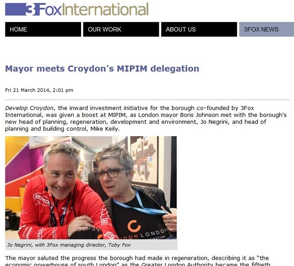 How 3Fox International illustrate their past work with Croydon, showing MD Toby Fox have a fun time in Cannes with council official Negrini
