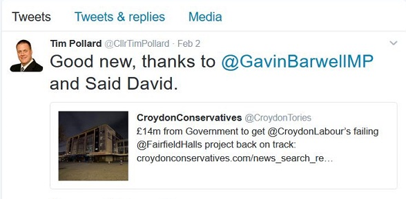 The leader of Croydon Tories doesn't appear to know how to type the name of the Tory local government minister