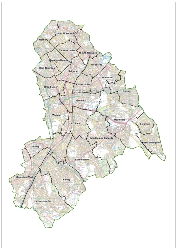 Croydon's ward boundaries, as they are today. The Boundary Commissioners are working on new recommendations for 2018 and beyond