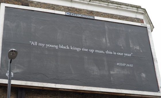 The billboard from Stormzy with a special message for the pupils at his old school, Harris South Norwood