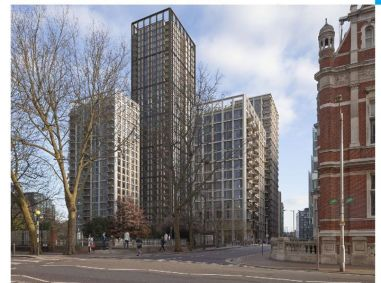 Hub's proposal for four blocks on the Taberner House site the tallest at 35 storeys, extends on to Queen's Gardens and dominates the Town Hall