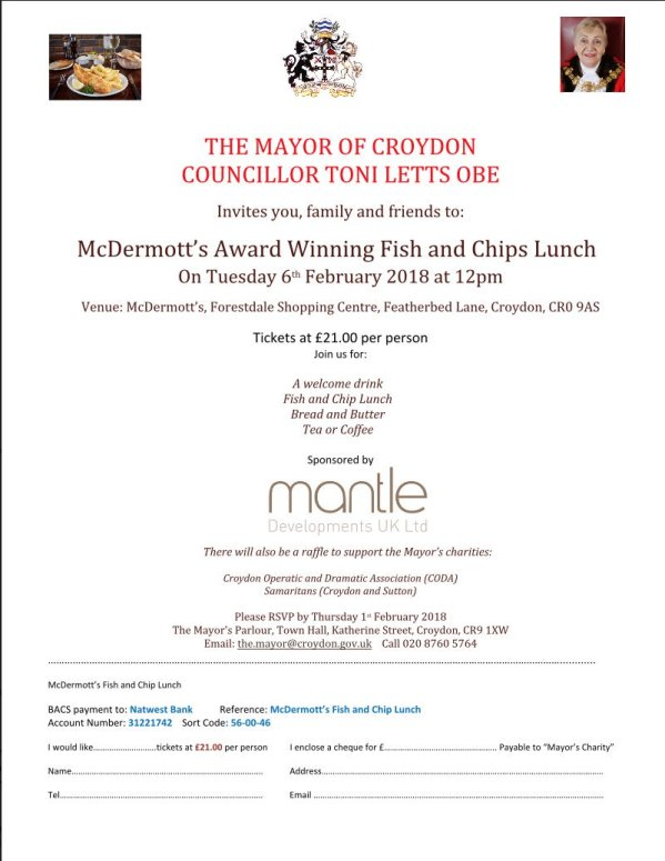 Mayor's charity fish and chips lunch, Forestdale, Feb 6 | Inside Croydon
