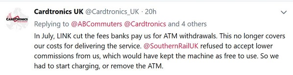 Southern could have acted to avoid £2 cash machine charges